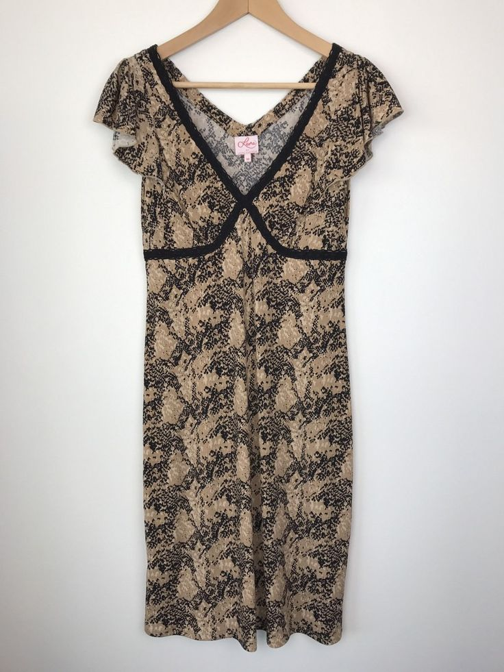 Leona by Leona Edmiston Dress Beige Black SNAKE PRINT