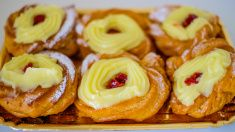 Verticall tray of authentic traditional Neapolitan pastries stock photo