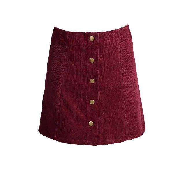 Elina 2016 fashion woman skater saia etek faldas Jupe Gonna Petite Vintage Corduroy Button Front A-Line Skirt femme xs s m l