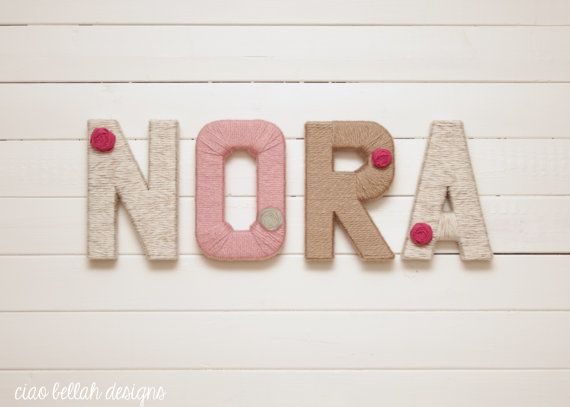 Shabby Chic Yarn Wrapped Letters Personalized by CiaoBellahDesigns, $13.00