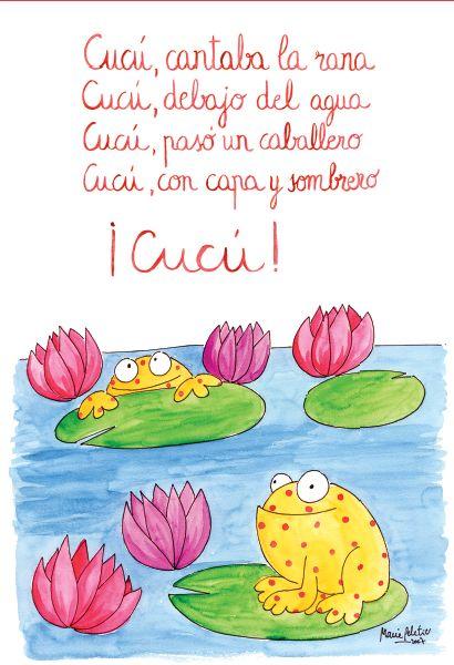 Títol: cucu cantaba la rana! Autor: literatura infantil En aquesta imatge podem veure la lletra de la canço infantil: cucu cantaba la rana