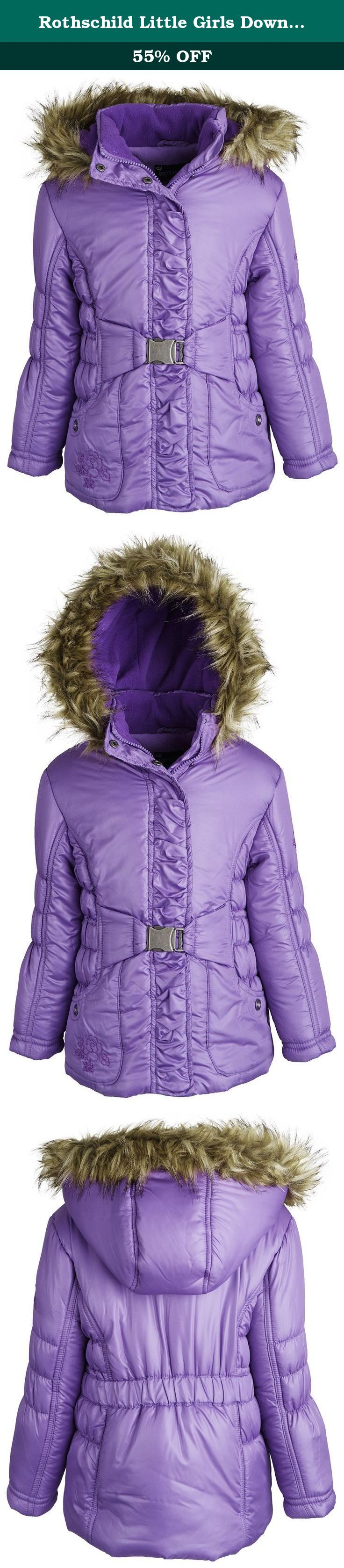 Rothschild Little Girls Down Alternative Fleece Winter Puffer Bubble Jacket Coat - Iris (size 3T). Bundle up your little angel in this lovely puffer jacket by Rothschild. Ultra soft full fleece lining along with its faux fur trimmed hood and thick filling will definitely help her cope those extreme weathers. Elasticized waist with buckle and gathered placket will surely please moms and daughters taste alike. Available in colors Rubylight and Sapphire and in sizes 2T to 6X.
