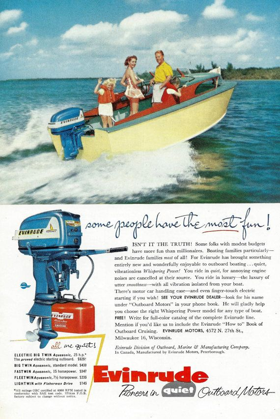 Vintage Boat 1950s Evinrude Outboard Motors Ad Old