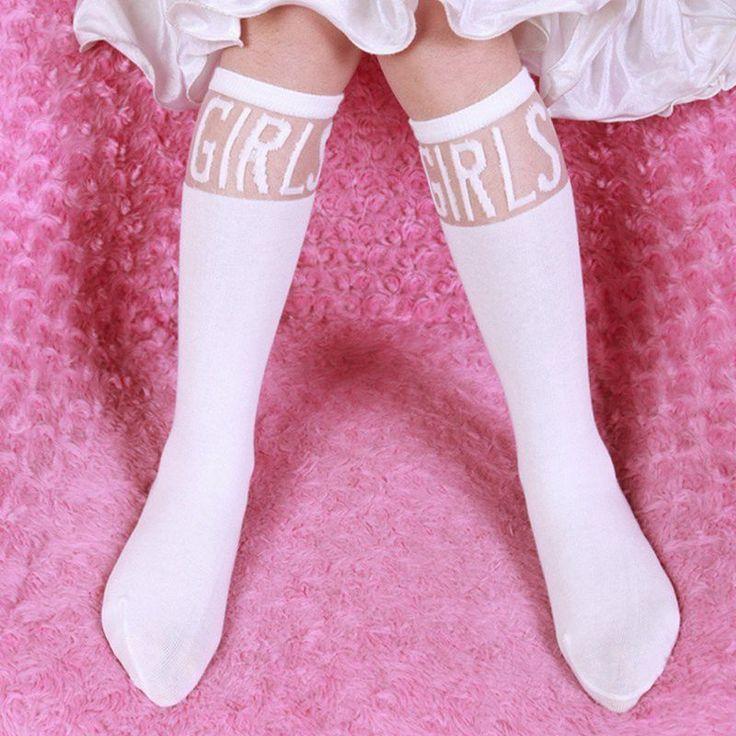 Baby Kids High Knee Socks School Cartoon Cat Lace Solid Stockings Leg Warmer For Girls P1