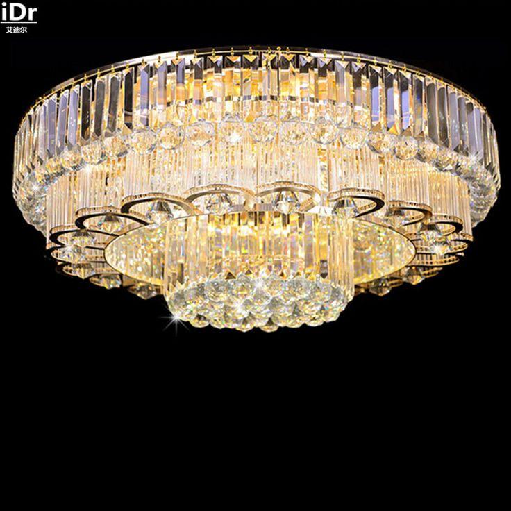 Роскошные золотые высококлассные атмосфера круглый светодиодный кристалл лампы гостиная зал 1.2 м высокое качество Роскошные лампы Потолочные Светильники