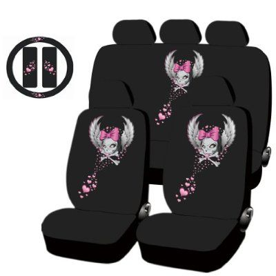 All New Wild Skull Design Low Back Seat Covers Steering Set Universal