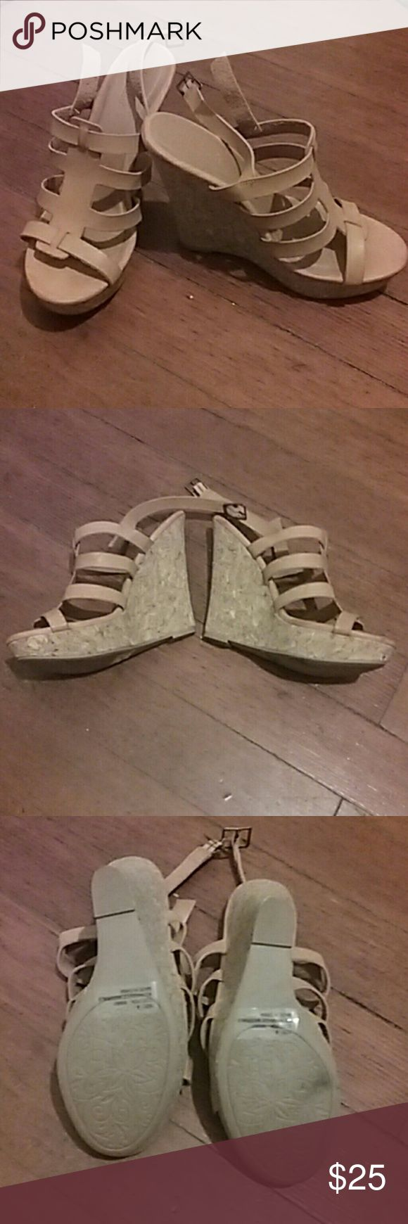 5.5in wedges Charlotte Russe Size 9 tan  strappy wedges from Charlotte Russe. Only wore for about an hour. Charlotte Russe Shoes Wedges