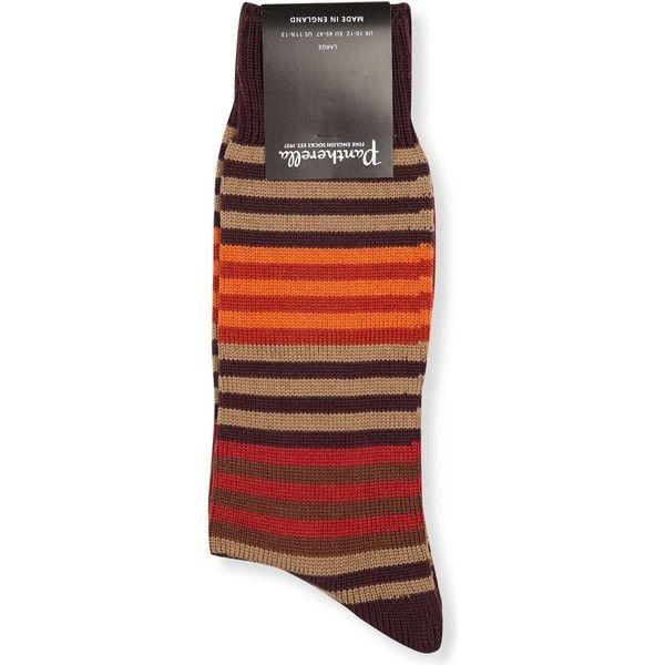 Pantherella Mens Maroon Mix Multistripe Wool Socks (360 MXN) ❤ liked on Polyvore featuring men's fashion, men's clothing, men's socks, colorful mens socks, mens patterned socks, mens wool socks, mens animal print socks and mens socks