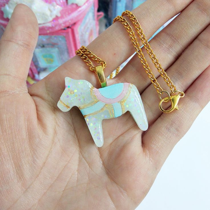 Whimsical+Blue+Pony+Necklace!+  *hand+painted+resin+pony *triple+coated+in+resin+and+fully+domed+resin+piece *3cm+x+4cm+charm *18+Inches