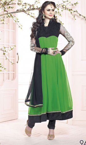 Attractive Green Color Georgette Designer Churidar Kameez. Sale : $94.00