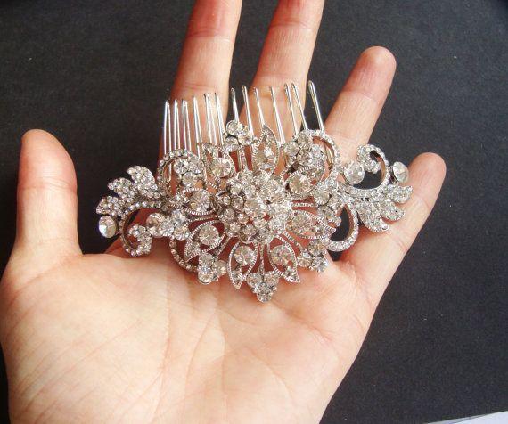 Rhinestone Bridal Hair Comb Victorian Rhinestone by luxedeluxe, $82.00
