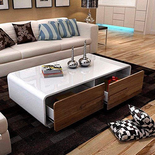 OSPI White Gloss Coffee Table/low Table With 4 Storage Dr... Https