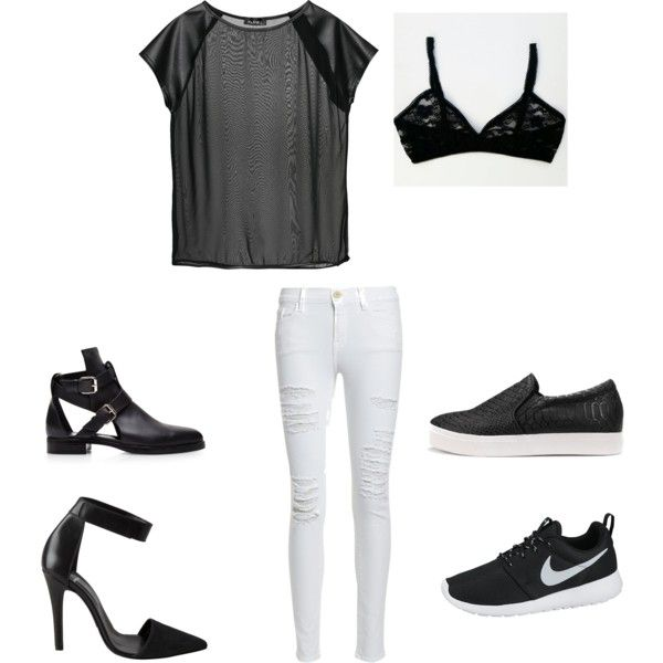 Black & White... Mesh Tee, Lace Bra, White Ripped Skinny by jadeclaire19 on Polyvore featuring Frame Denim, Pieces, Pierre Hardy and NIKE