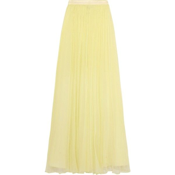Needle & Thread Crinkled-chiffon maxi skirt (1.346.325 IDR) ❤ liked on Polyvore featuring skirts, pastel yellow, ankle length skirt, maxi skirts, pastel maxi skirt, beige maxi skirt and long yellow skirt