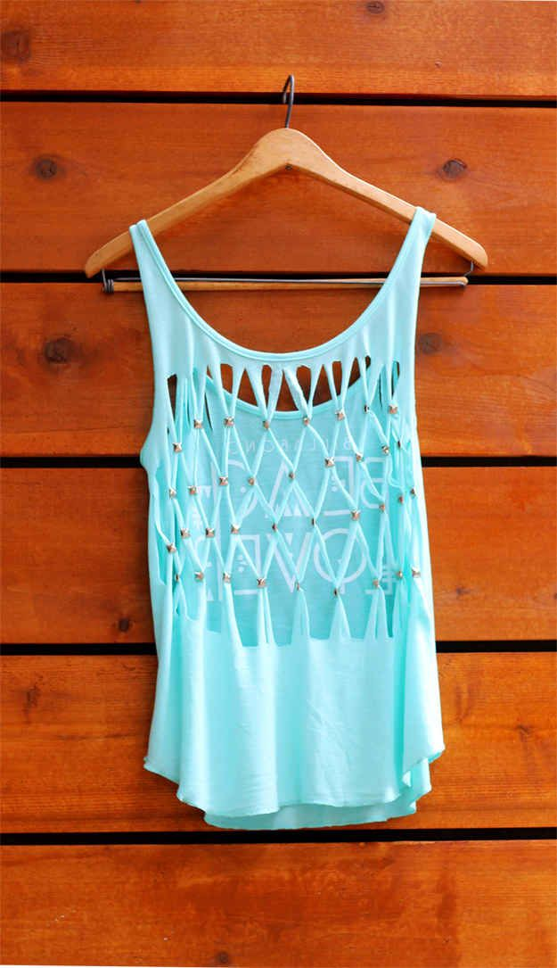 Use studs to make a diamond pattern in the back of a tee.