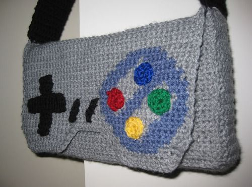 Crochet SNES controller bag--MUST HAVE! WANT SOOOOO BAD