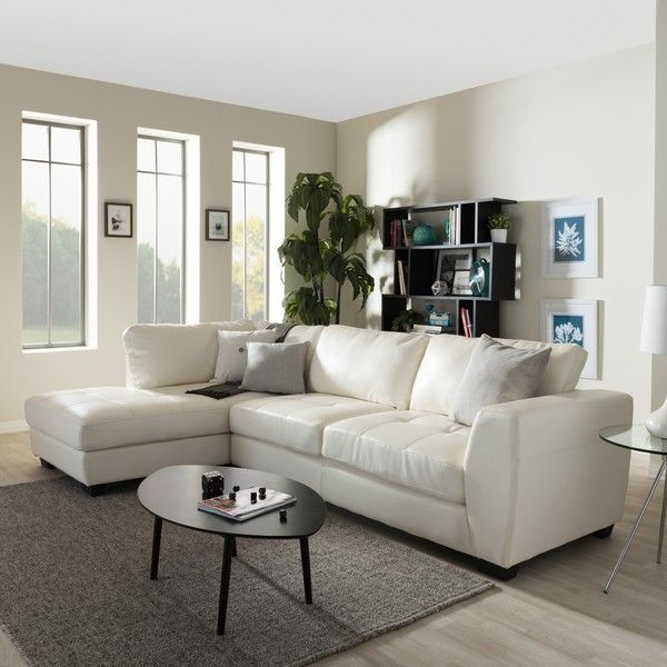 Baxton Studio Orland White Leather Modern Sectional Sofa Set With Left...  ($1,126
