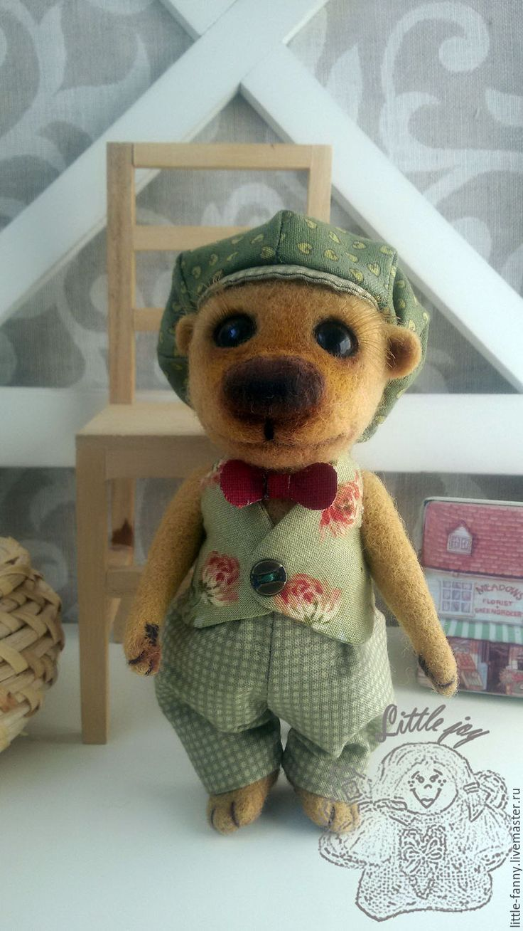"""Купить игрушка """"Мишель"""" - комбинированный, мишка, медвежонок, медведь, кепка, жилетка, милый мишка"""