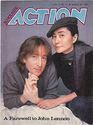A FAREWELL TO JOHN LENNON VINTAGE 1980s SCHOLASTIC ACTION PHOTO MAGAZINE