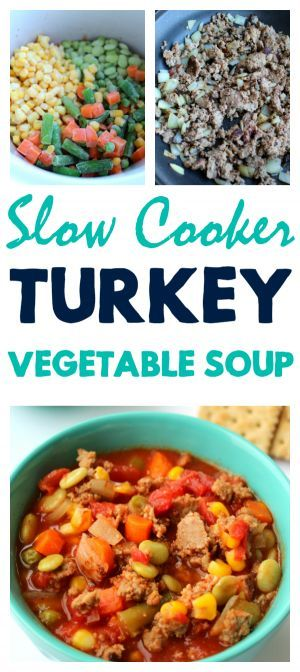 Slow Cooker Turkey Vegetable Soup is a hearty meal perfect for any time of year! Can also be made with beef or left meatless.