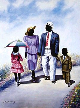 family on their way to church