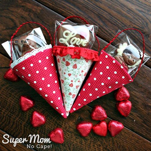 DIY Fabric Cones are perfect to make to hold treats for Valentine's Day, Easter, Mother's Day, Christmas or birthdays. They'd also be fun to make as party favors for Bridal or Baby showers. #sewing #sewingprojects #DIYgiftideas #giftideas #DIYgifts #valentinesday #easter #mothersday #christmas #birthdays #bridalshower #babyshower #partyfavors