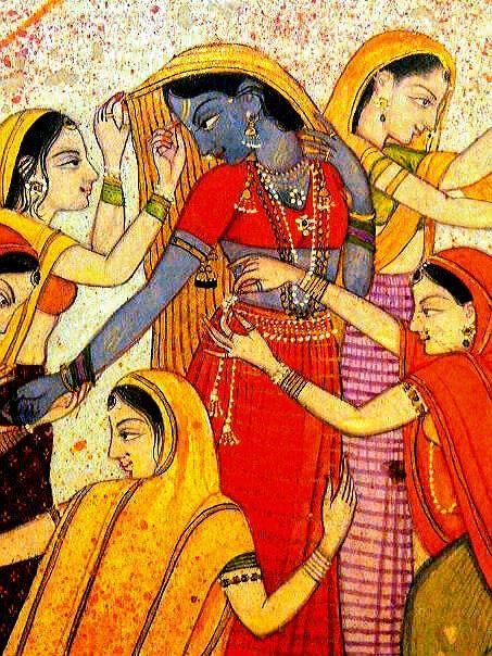 Holi in Vrindavan - Krishna crossdressing - painting presently at BHU, Varanasi.