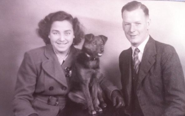 Mum and Dad with their beloved dog, Trixie, at Headley Park, England