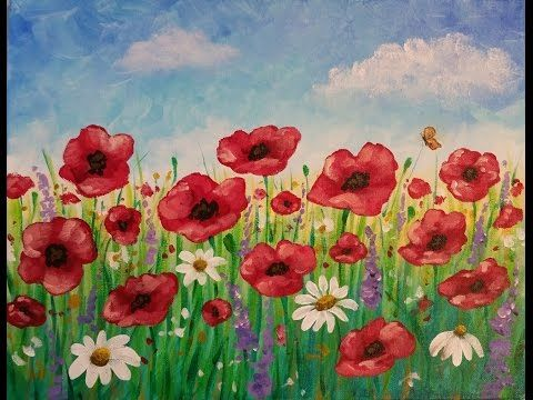 Easy Poppy Field Painting | Time Lapse Acrylic Tutorial | FREE Lesson - YouTube