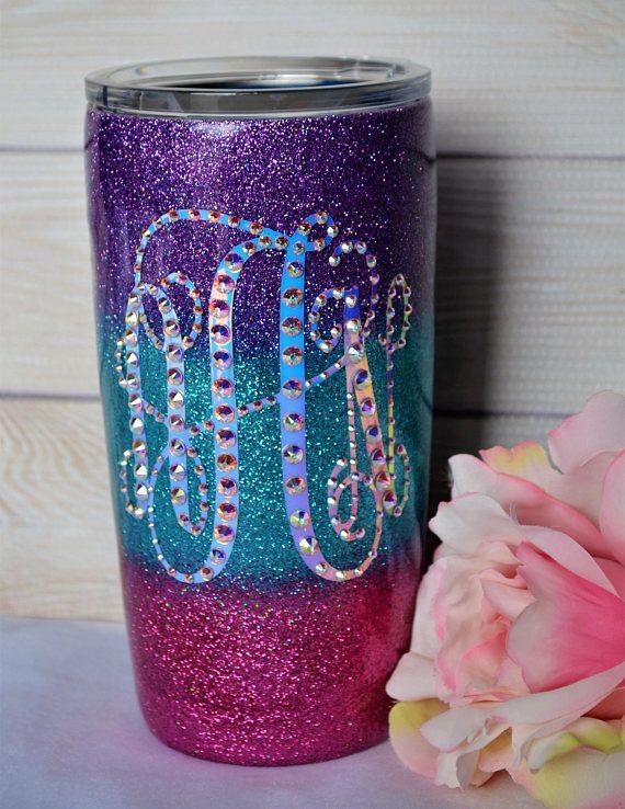 71e4f3574fe Glitter Tumbler, Epoxy Tumbler, Mermaid, Personalized Cup, Monogram Yeti,  Ozark, Rtic, Pink Purple Turquoise Ombre, Bridal, Wedding Tumbler,  Stainless Steel ...