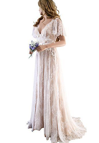 df6858612b67 XJLY Elegant V-Neck Boho Champagne Lace Beach Wedding Dresses Country Style  Bridal Gown