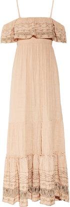 embroidered cotton-muslin maxi dress