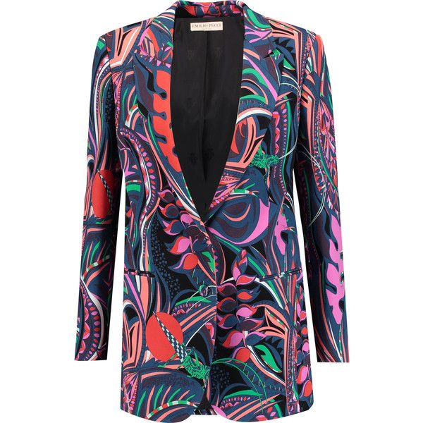 Emilio Pucci Printed crepe blazer (£552) ❤ liked on Polyvore featuring outerwear, jackets, blazers, multi, colorful jackets, emilio pucci, shoulder pad jacket, blazer jacket and petite blazer