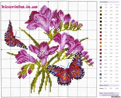 Схема вышивки крестом бабочка из роз