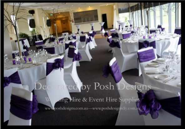 Purple organza sashes, white lycra chair covers, white tablecloths, brown willow table centres all for hire. Australia wide. Visit www.poshdesigns.com.au for more photos and info, or email lisa@poshdesigns.com.au for pricing packages