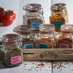Présentoir bois et 6 pots à épices en verre hermétiques Kilner