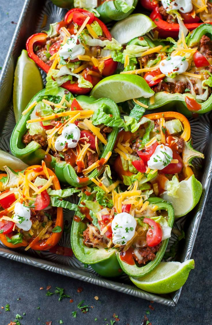 Baked Bell Pepper Tacos http://www.changeinseconds.com/baked-bell-pepper-tacos/ (Vegetarian, Paleo, and Vegan versions available)