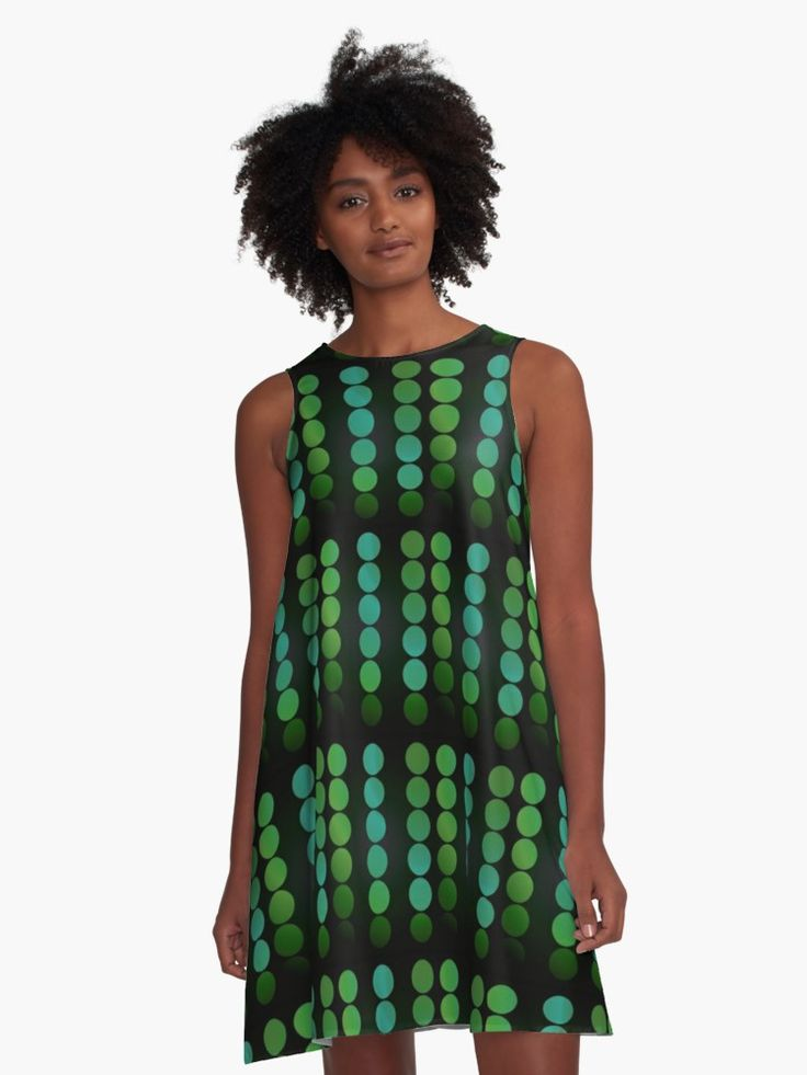 Green Dots Pattern A- Line Dress by Scar Desin • Also buy this artwork on apparel, stickers, phone cases, and more. #dress #fashion #style #giftsforher #family #women #woman #alinedress #modern #redbubble #scardesign #art #artist #shopping #online #clothing #dots #pattern #green