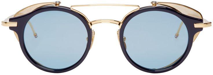 Thom Browne - Navy & Gold Visor Sunglasses