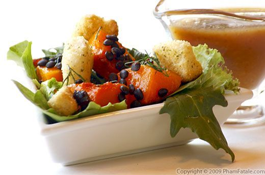 Butternut Squash Salad With Beluga Lentils And Sage-Flavored Croutons ...
