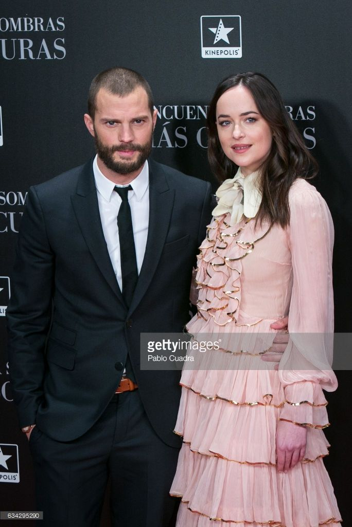 actor Jamie Dornan and actress Dakota Johnson attend the 'Fifty Shades Darker' premiere at Kinepolis Cinema on February 8, 2017 in Madrid, Spain.