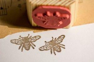 Honey Bee Silhouette | Vintage Handmade Honey Bee Deep Etched by rubberstampcreations