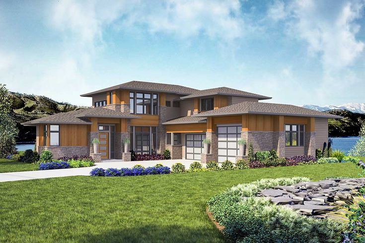 Plan 23774JD: Modern 4-Bed House Plan with Indoor / Outdoor Living Spaces