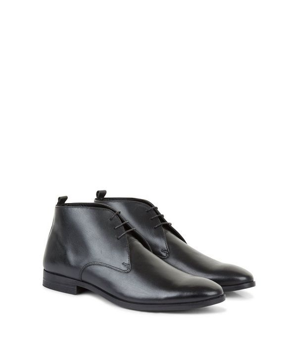 Black Leather Chukka Boots | New Look