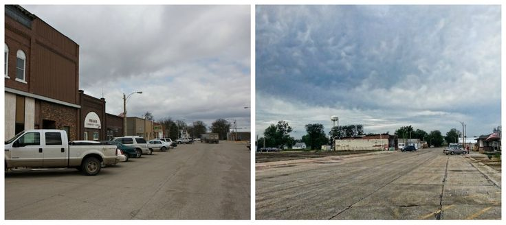In the Path of Destruction - Main street before and after