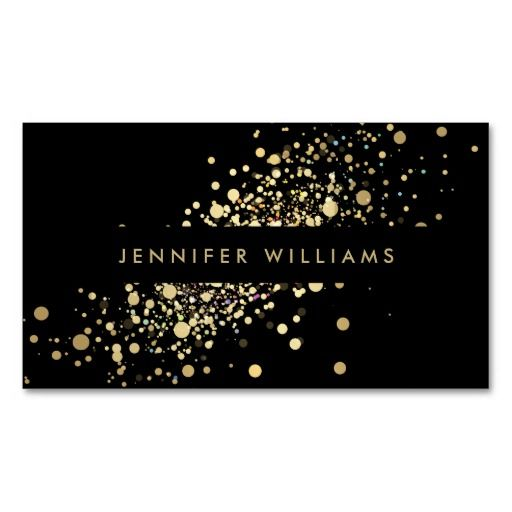 Faux Gold Confetti Dots Event Planner, Stylist Standard Business Card