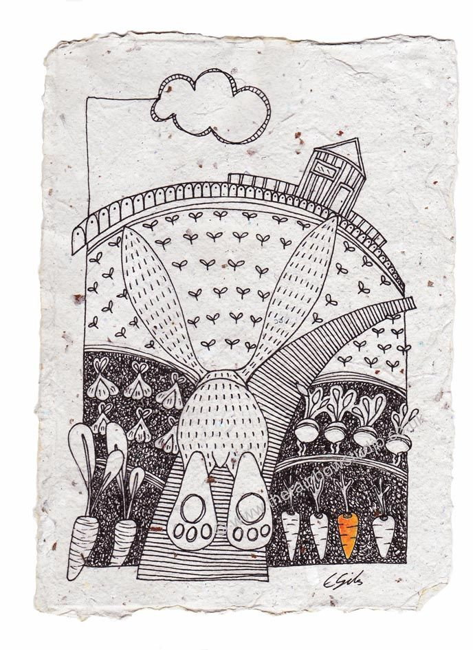 Veggie Patch original illustration on handmade paper by Emma Giles SOLD @ the Willow gallery www.therainbowstudio.co.uk