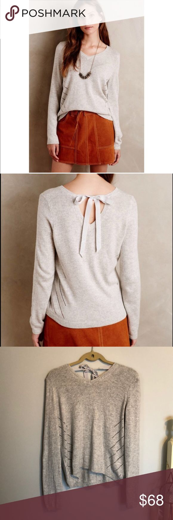Anthropologie 🌼 Tie Back Pull-Over by Moth Anthropologie 🌼 Tie Back Pull-Over by Moth - AMAZING condition - this sweater is the exact color in the stock imagery, my camera has poor lighting! This sweater is soft and cozy, perfect for those fall/winter days! NO TRADES Anthropologie Sweaters