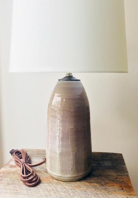This Carved Table Lamp Base Is Handmade Here In My Vermont Studio It Has Been Coated With A Rustic Wheat Glaze Which Pottery Lamp Table Lamp Ceramic Lamp Base