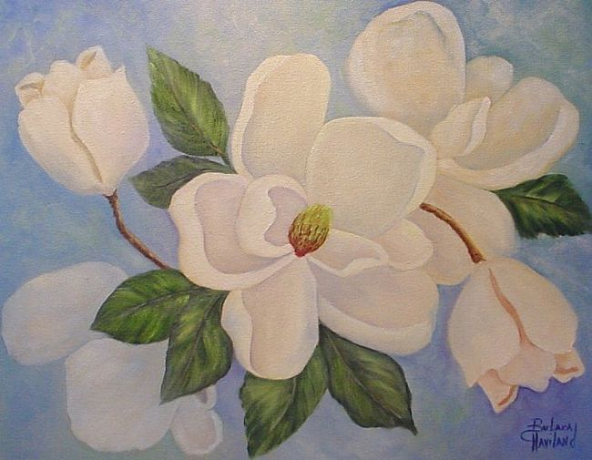 Magnolias on Blue //SOLD